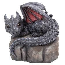 garden dragon on rock statue 9 1 4 inch resin dragon statue