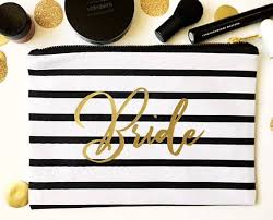 bridal party makeup bags bridal party makeup bag black and white striped bag gold