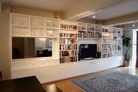 Modloft Pearl Bookcase Custom White Lacquer Media Entertainment Unit Built In Bookcases