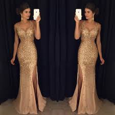 formal dresses golden prom dress with slit graduation party dresses formal