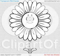 cartoon clipart of a black and white sleeping daisy flower