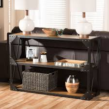 console table distressed charcoal brown storage