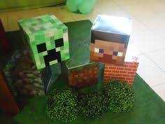 Minecraft Party Centerpieces by Super Cool Mine Craft Steve Head Pinata Minecraft Party Theme