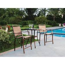 High Patio Table Mainstays Sand Dune 3 Piece High Outdoor Bistro Set Seats 2