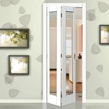 Interior Bifold Doors With Glass Inserts Tobago White Primed Bifold Door Clear Safety Glass Safety