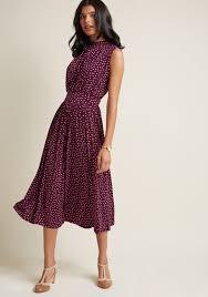to ottawa midi dress in purple dots modcloth