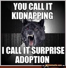 Meme Insanity Wolf - you call it kidnapping i call it surprise adoption humor