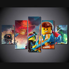 online get cheap lego poster aliexpress com alibaba group canvas painting frame hd printed wall art pictures 5 pieces lego animation movie characters living room