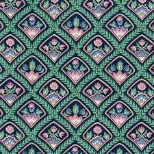 arts crafts floral vintage wallpaper green black pink diamonds lm11184
