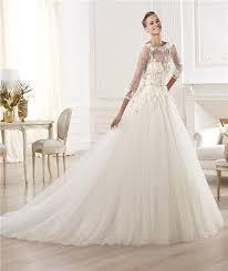 Tulle Wedding Dresses Line Bateau Neckline Three Quarter Sleeve Lace Tulle Wedding Dress