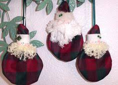 handmade ornaments set of three santa ornaments