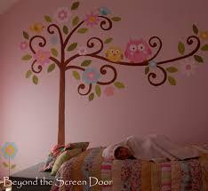 Little Girls And A Mural Beyond The Screen Door - Girls bedroom wall murals