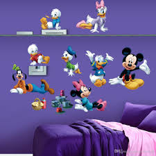 cartoon mickey minnie mouse donald duck art mural poster sticker material pvc size pack one piece
