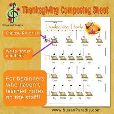 thanksgiving pre reading composing sheet susan paradis piano