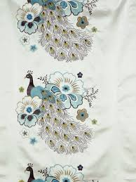 Faux Silk Embroidered Curtains Silver Embroidered Peacocks Faux Silk Custom Made Curtains