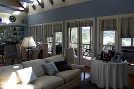 roman shade with striped for french door on open concept living