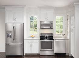 Modern Kitchen With White Appliances Modern Kitchen Kitchen Remodel White Cabinets With Black Liances