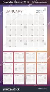 calendar planner template 2017 year week stock vector 557891629