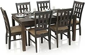 six seater dining table royal oak daisy six seater dining table set walnut amazon in