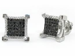 mens black diamond earrings 10k white gold black diamond square stud earrings dz designs nyc