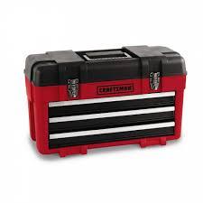craftsman 3 drawer plastic metal portable chest red black shop