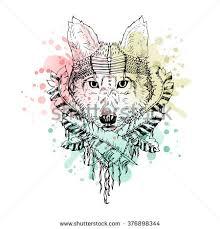 black white wild animal wolf head stock vector 376898344