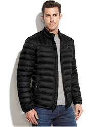 tommy hilfiger quilted packable down puffer in black for men lyst