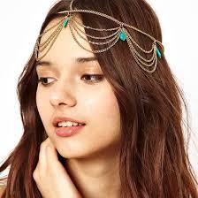 forehead bands 2018 turquoise hair jewelry headband bohemia gold chain hair