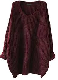 maroon sweater s casual unbalanced crew neck knit sweater pullover