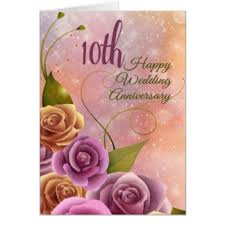 Wedding Day Wishes For Card 10th Wedding Anniversary Greeting Cards Zazzle
