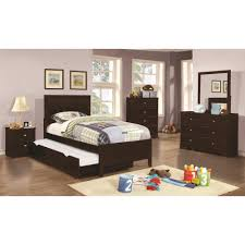 coaster ashton 4pc full size trundle bedroom set in cappuccino