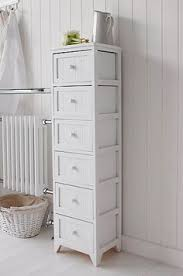 White Bathroom Storage Drawers Dorset Narrow Free Standing Bathroom Cabinet With 4 Storage