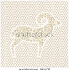 greeting card silhouette ornamental sheep traditional stock vector