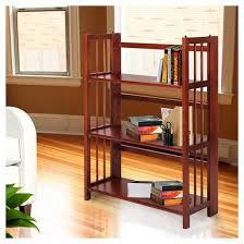 Fold Up Bookcase Folding 3 Tier Bookshelf Stackable Mahogany Target