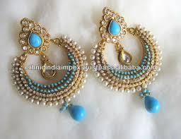 dangler earrings feroza blue polki gold tone dangler earrings ram leela buy