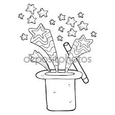 de magicien noir et blanc dessin animé u2014 image vectorielle 101550908