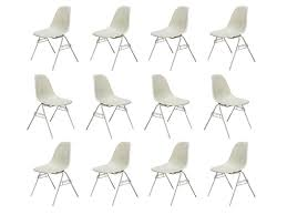 parchment eames shell chairs on stacking base u2014 oam