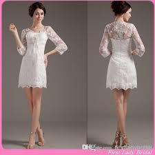 2015 3 4 sleeves short wedding dresses ivory lace beach