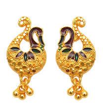 peacock design earrings in gold buy pourni peacock gold plated meenakari earring per1 online
