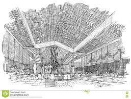 sketch interior perspective lobby hall black and white interior