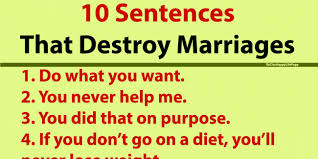 10 sentences that destroy marriages happy report