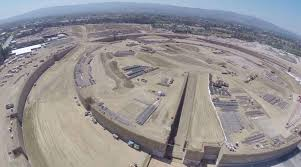 take in apple u0027s massive new spaceship campus site via drone cult