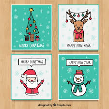 four hand drawn greeting cards for christmas vector free download
