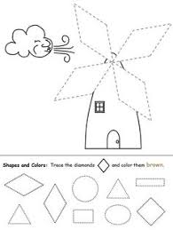 shape worksheet for young children trace the triangles and color