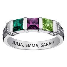 family birthstone rings sterling silver square birthstone ring 3 stones 38560