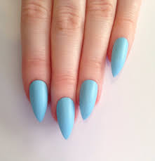 knowing more about acrylic nails lovely blue oval acrylic nails