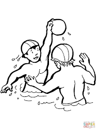 kids playing water polo coloring page free printable coloring pages