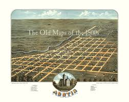 Chicago Map Art by Austin Minnesota In 1870 Bird U0027s Eye View Aerial Panorama