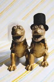 dinosaur wedding cake topper fancy dinosaur t rex wedding cake topper 2 custom gold t