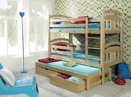 Bunk Beds Wooden Triple Childrens Mattresses Storage White Pine - Wooden bunk bed with trundle